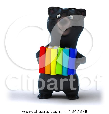 Clipart of a 3d Bespectacled Happy Black Bear Holding Colorful Books - Royalty Free Illustration by Julos