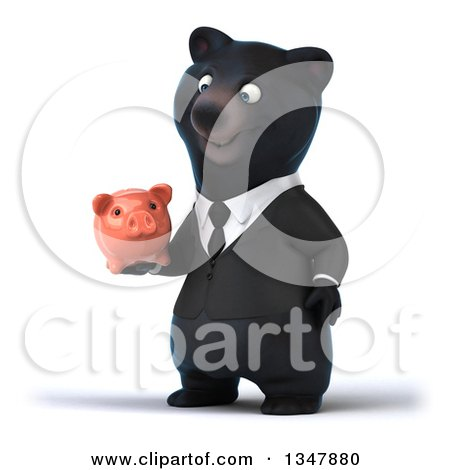 Clipart of a 3d Bespectacled Black Business Bear Facing Slightly Left and Holding a Piggy Bank - Royalty Free Illustration by Julos