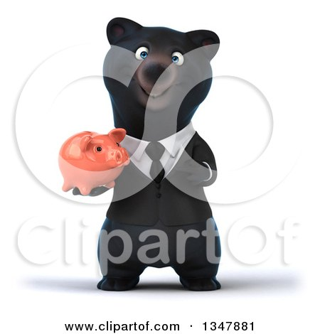 Clipart of a 3d Bespectacled Black Business Bear Holding and Pointing to a Piggy Bank - Royalty Free Illustration by Julos