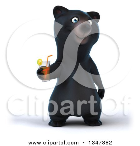 Clipart of a 3d Happy Black Bear Holding a Beverage - Royalty Free Illustration by Julos
