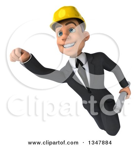 Clipart of a 3d Young White Male Architect Flying with Blueprints - Royalty Free Vector Illustration by Julos