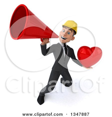 Clipart of a 3d Young White Male Architect Holding a Love Heart and Announcing Upwards with a Megaphone - Royalty Free Vector Illustration by Julos