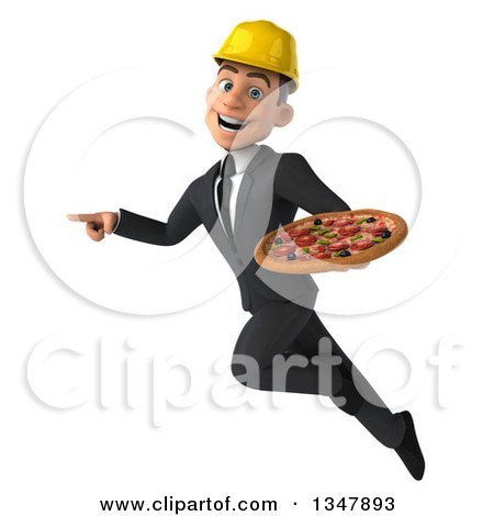 Clipart of a 3d Young White Male Architect Holding a Pizza, Pointing and Flying - Royalty Free Vector Illustration by Julos