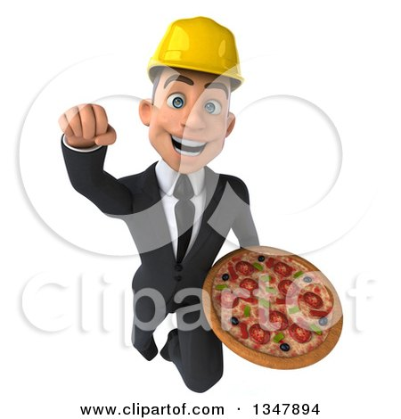 Clipart of a 3d Young White Male Architect Holding a Pizza and Flying - Royalty Free Vector Illustration by Julos