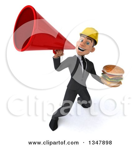 Clipart of a 3d Young White Male Architect Holding a Double Cheeseburger and Announcing Upwards with a Megaphone - Royalty Free Vector Illustration by Julos