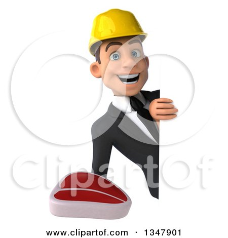 Clipart of a 3d Young White Male Architect Holding a Beef Steak Around a Sign - Royalty Free Vector Illustration by Julos