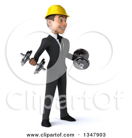 Clipart of a 3d Young White Male Architect Working Out, Facing Slightly Right and Doing Bicep Curls with Dumbbells - Royalty Free Vector Illustration by Julos