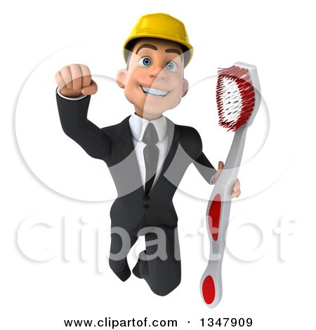 Clipart of a 3d Young White Male Architect Holding a Giant Toothbrush and Flying - Royalty Free Vector Illustration by Julos