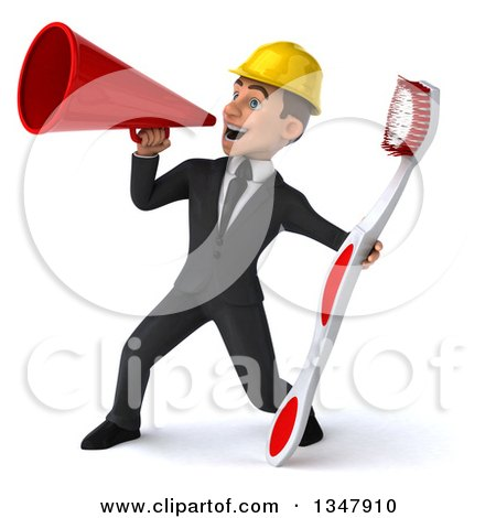 Clipart of a 3d Young White Male Architect Holding a Giant Toothbrush and Announcing to the Left with a Megaphone - Royalty Free Vector Illustration by Julos