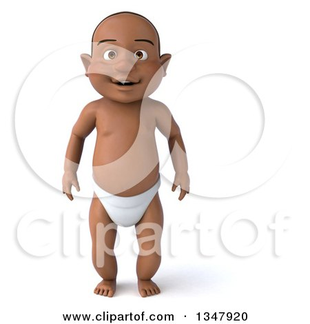 Clipart of a 3d Black Baby Boy - Royalty Free Illustration by Julos