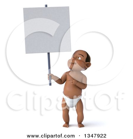 Clipart of a 3d Black Baby Boy Holding up and Pointing to a Blank Sign - Royalty Free Illustration by Julos
