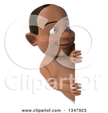 Clipart of a 3d Black Baby Boy Looking Around a Sign - Royalty Free Illustration by Julos