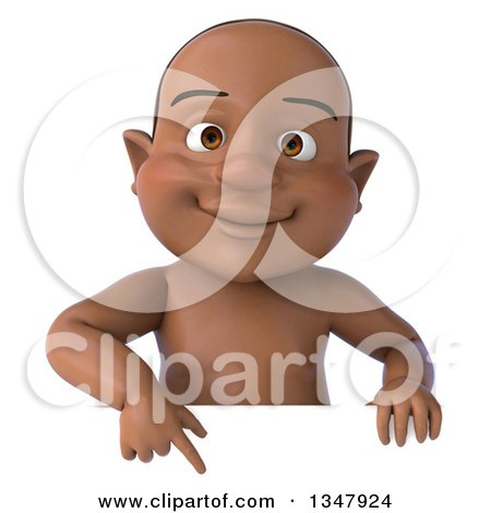Clipart of a 3d Black Baby Boy Pointing down over a Sign - Royalty Free Illustration by Julos