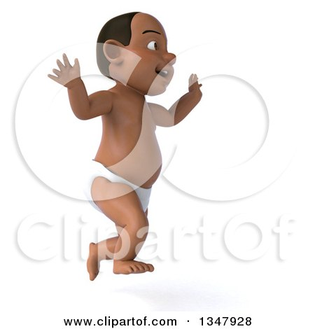 Clipart of a 3d Black Baby Boy Facing Right and Jumping - Royalty Free Illustration by Julos