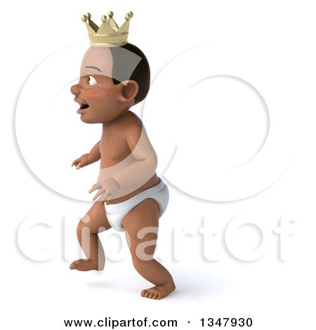 Clipart of a 3d Black Baby Boy Wearing a Crown and Walking to the Left - Royalty Free Illustration by Julos