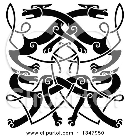 Clipart of a Black Celtic Wild Dog Knot 3 - Royalty Free Vector Illustration by Vector Tradition SM