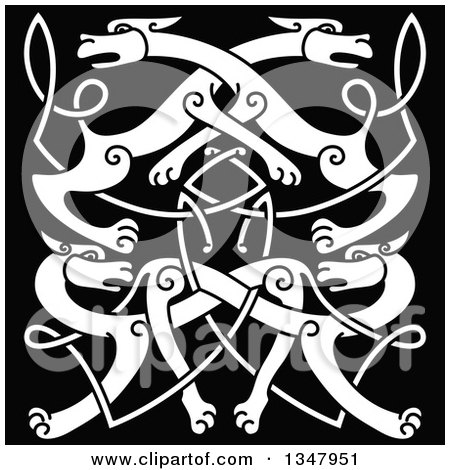 Clipart of a White Celtic Wild Dog Knot on Black 3 - Royalty Free Vector Illustration by Vector Tradition SM