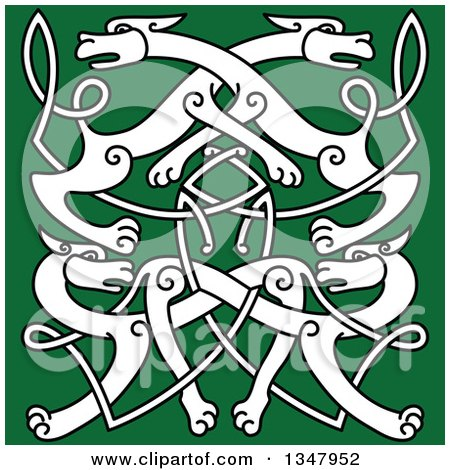 Clipart of a White Celtic Wild Dog Knot on Green 2 - Royalty Free Vector Illustration by Vector Tradition SM