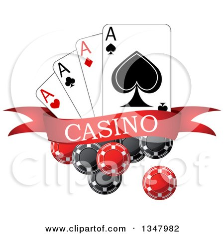 Clipart of Poker Chips and Playing Cards with a Red Casino Banner - Royalty Free Vector Illustration by Vector Tradition SM