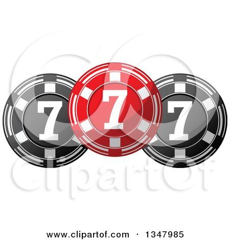 Clipart of a Red and Black Casino Poker Chips - Royalty Free Vector Illustration by Vector Tradition SM