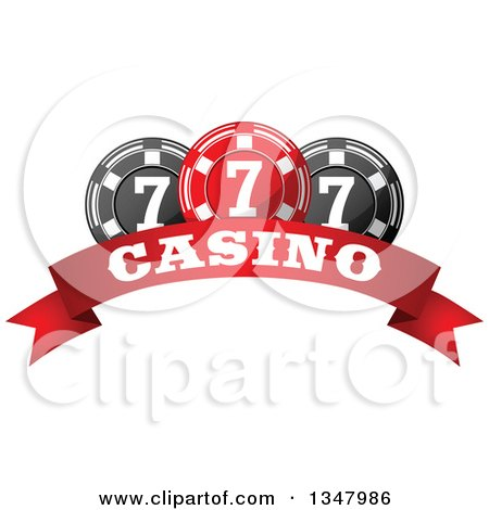 Clipart of a Red and Black Casino Poker Chips over a Text Banner - Royalty Free Vector Illustration by Vector Tradition SM