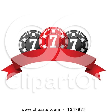 Clipart of a Red and Black Casino Poker Chips over a Blank Banner - Royalty Free Vector Illustration by Vector Tradition SM