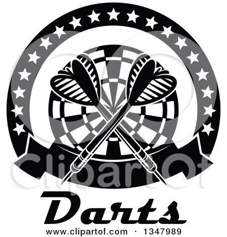 Clipart of Black and White Crossed Darts over a Target, in a Circle of Stars with a Banner over Text - Royalty Free Vector Illustration by Vector Tradition SM