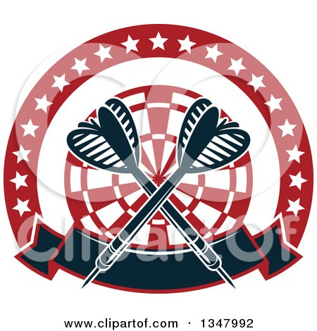 Clipart of Crossed Darts over a Red and White Target, in a Circle of Stars with a Banner - Royalty Free Vector Illustration by Vector Tradition SM
