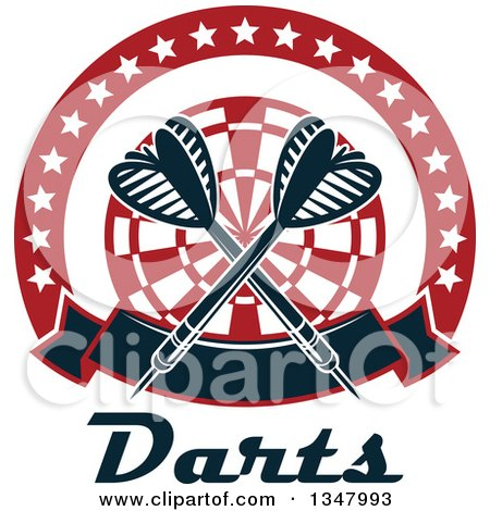 Clipart of Crossed Darts over a Red and White Target, in a Circle of Stars with a Banner over Text - Royalty Free Vector Illustration by Vector Tradition SM