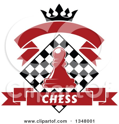 Clipart of a Red Chess Pawn over a Black and White Diamond Board, with a Crown and Banners - Royalty Free Vector Illustration by Vector Tradition SM