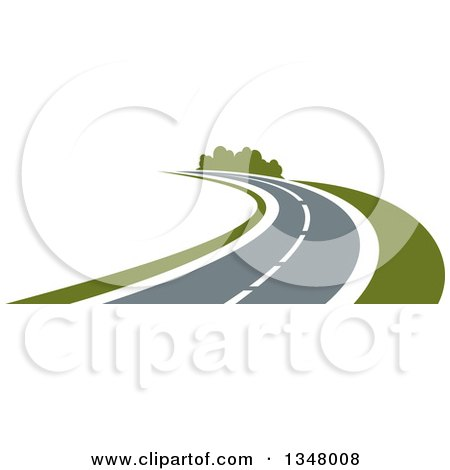 Clipart of a Two Lane Highway Road Curving - Royalty Free Vector Illustration by Vector Tradition SM
