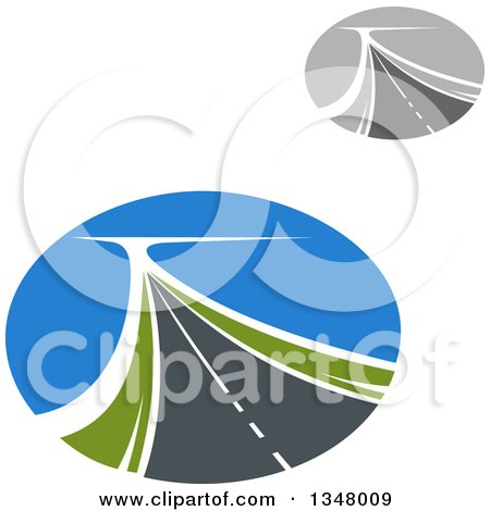 Clipart of Two Lane Highway Roads in Ovals - Royalty Free Vector Illustration by Vector Tradition SM
