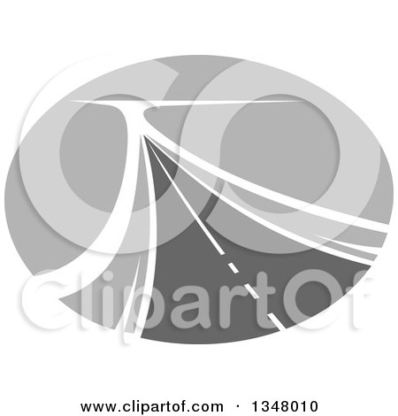 Clipart of a Grayscale Two Lane Highway Road in an Oval - Royalty Free Vector Illustration by Vector Tradition SM