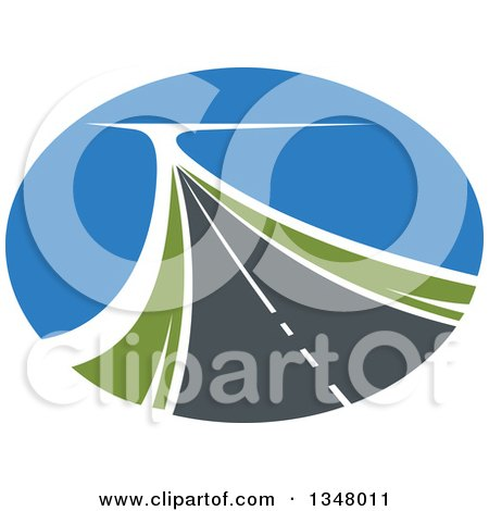 Clipart of a Two Lane Highway Road in an Oval - Royalty Free Vector Illustration by Vector Tradition SM