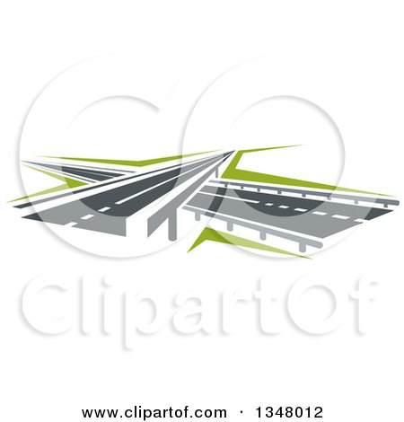 Clipart of Highway Road over and Under Passes - Royalty Free Vector Illustration by Vector Tradition SM