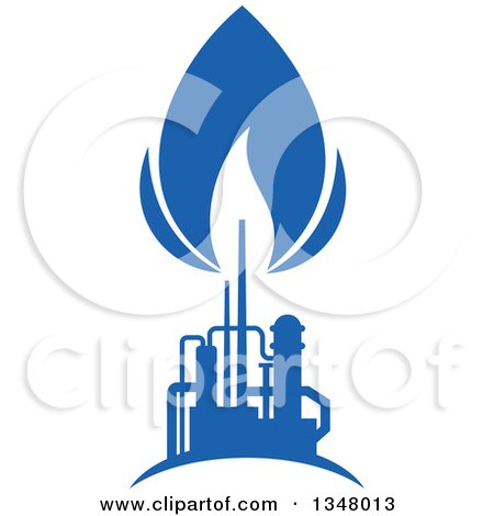 Clipart of a Silhouetted Blue Natural Gas and Flame Factory 8 - Royalty Free Vector Illustration by Vector Tradition SM