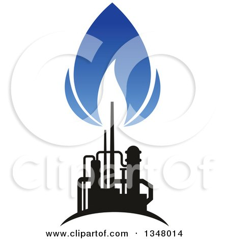 Clipart of a Black and Blue Silhouetted Natural Gas and Flame Design - Royalty Free Vector Illustration by Vector Tradition SM