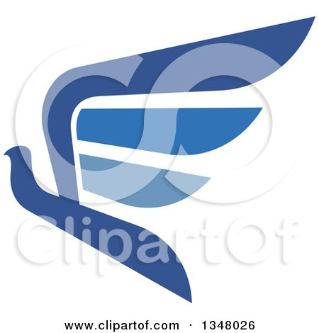 Clipart of a Blue Flying Peace Dove 4 - Royalty Free Vector Illustration by Vector Tradition SM