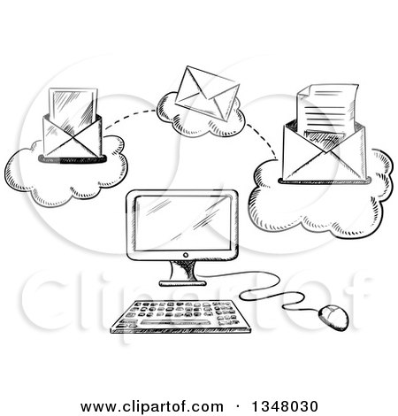 Clipart of a Black and White Sketched Desktop Computer and Sending Email - Royalty Free Vector Illustration by Vector Tradition SM