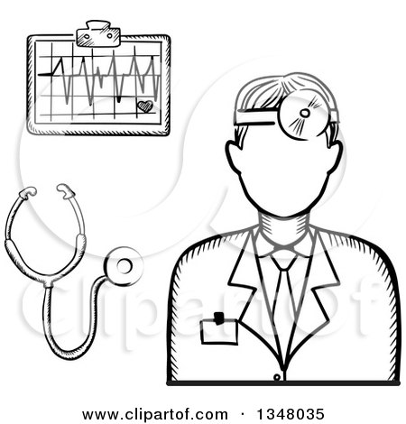 Clipart of a Black and White Sketched Male Doctor Stethoscope and