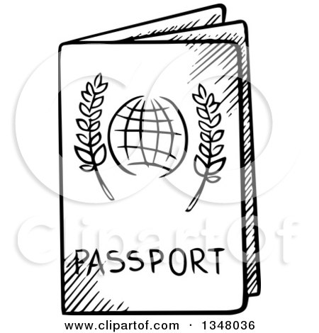 Clipart of a Black and White Sketched Passport - Royalty ...