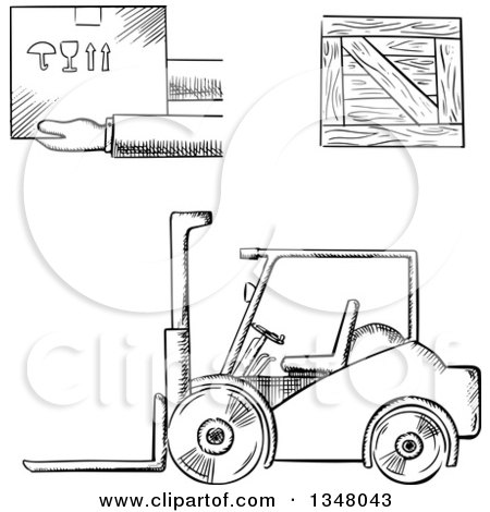 Clipart of a Black and White Sketched Warehouse Forklift, Shipping Crate and Fragile Box - Royalty Free Vector Illustration by Vector Tradition SM