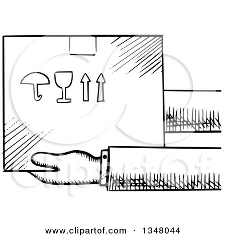 Clipart of Black and White Sketched Hands Holding a Fragile Box - Royalty Free Vector Illustration by Vector Tradition SM