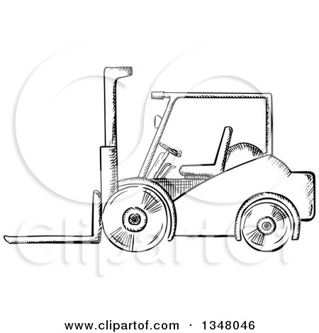 Clipart of a Black and White Sketched Warehouse Forklift - Royalty Free Vector Illustration by Vector Tradition SM