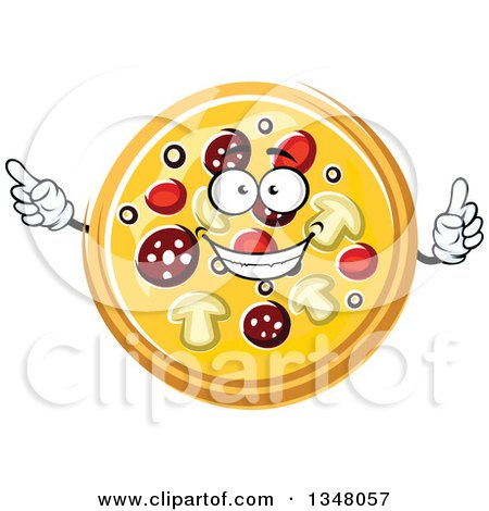 Clipart of a Cartoon Pizzas Character Holding up a Finger and Pointing - Royalty Free Vector Illustration by Vector Tradition SM