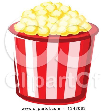 Clipart of a Cartoon Striped Popcorn Bucket - Royalty Free Vector Illustration by Vector Tradition SM