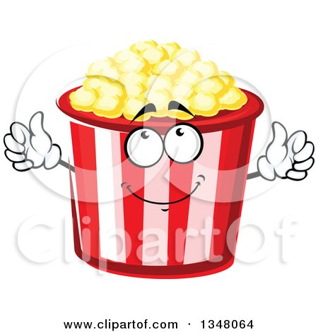 Clipart of a Cartoon Striped Popcorn Bucket Character - Royalty Free Vector Illustration by Vector Tradition SM