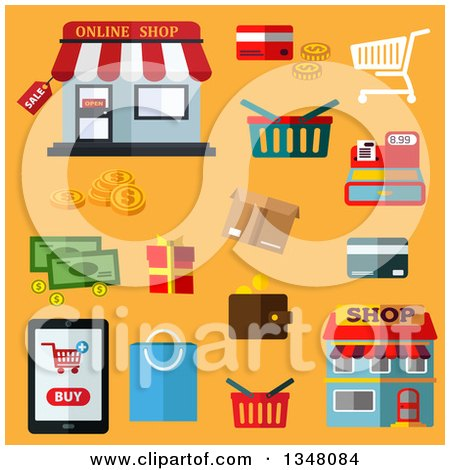 Clipart of Flat Design Shopping and Business Items on Yellow - Royalty Free Vector Illustration by Vector Tradition SM