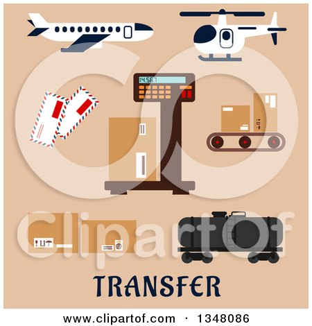 Clipart of a Flat Design Airplane, Helicopter and Airport Shipping Items with Text on Beige - Royalty Free Vector Illustration by Vector Tradition SM