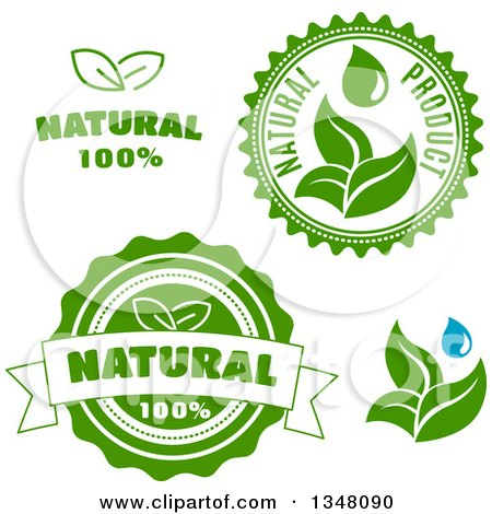 Clipart of Green Leaf Natural Label Designs - Royalty Free Vector Illustration by Vector Tradition SM